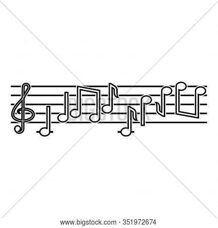 Note Fret Notes Icon Outline Black Color Vector Illustration Flat Style Simple Image