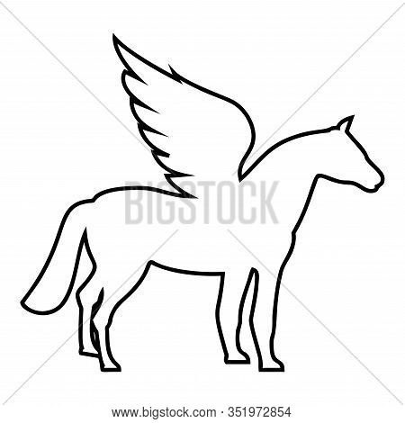 Pegasus Winged Horse Silhouette Mythical Creature Fabulous Animal Icon Outline Black Color Vector Il