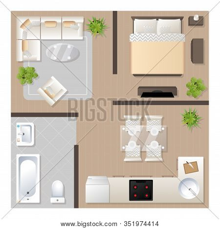 Apartment Design With Furniture Top View, Architectural Plan, Kitchen, Bathroom, Bedroom And Living