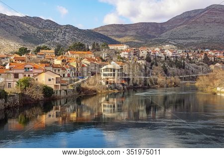 View Of Trebisnjica River And Trebinje City On Winter Day. Bosnia And Herzegovina, Republika Srpska