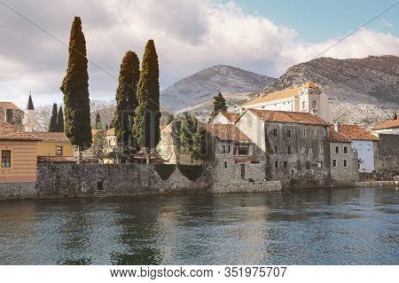 Trebisnjica River And Old Town Of Trebinje City. Bosnia And Herzegovina, Republika Srpska. Color Ton