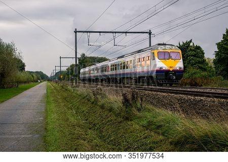 Begijnendijk, Flanders, Belgium - October 17 2013 : Electrical Train Class Ms 80 Of The Belgian Rail