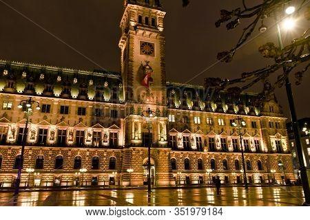 Hamburg, Germany: The Townhall Of Hamburg In Germany Illuminated At Night