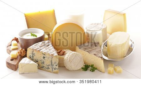 dairy product- cheese, milk, yogurt, butter selection