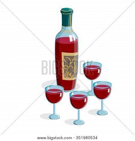 Wine bottle with four glasses isolated on white background for passover jewish holiday night seder, kiddush, celebrate, vector