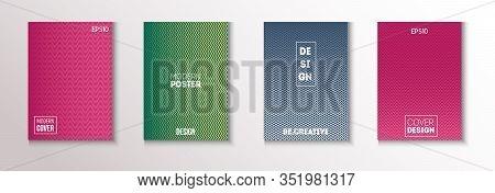 Wavy Minimal Cover Vector Set. Modern Flyer Graphic Design. Textured Gradient Overlay Business Folde