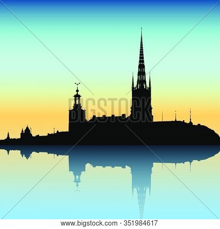 Stockholm City Skyline Vector Illustration. Black Silhouette Over Twilight Sky, Fading Reflection.