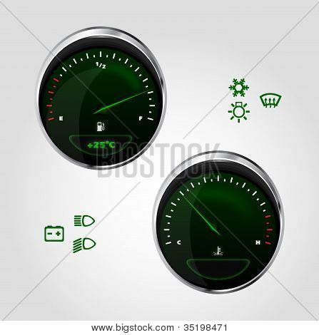 illustration of fuel and temperature control of dashboard car