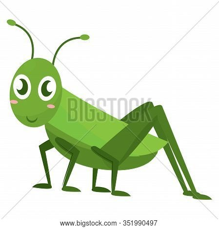 Isolated Happy Cricket Cartoon. Cute Insect - Vector Illustration