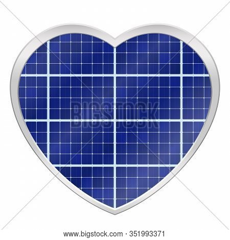 Solar Plates Collector In A Heart Shaped Frame. Photovoltaic Panels Symbol - Isolated Vector Illustr