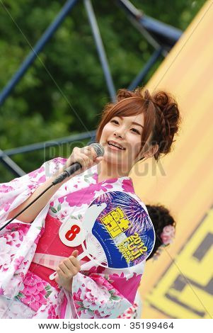 Miss Fuji Beautiful Woman On The Stage
