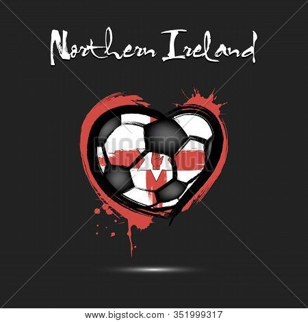 Abstract Soccer Ball Shaped As A Heart Painted In The Colors Of The Northern Ireland Flag. Flag Nort