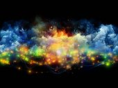 Artistic background for use with projects on art spirituality painting music visual effects and creative technologies made of clouds of fractal foam and abstract lights poster