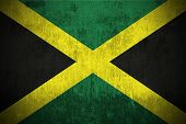 Dirty Weathered Flag Of Jamaica fabric textured poster