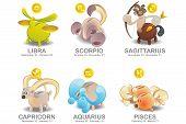 Piggy Bank of Zodiac icon set: Libra, Scorpio, Sagittarius, Capricorn, Aquarius, Pisces poster
