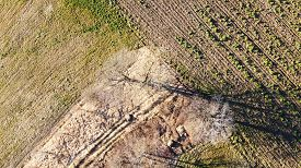 Aerial View Of Agricultural Fiels And Trees In Savoy, Near Annecy, France