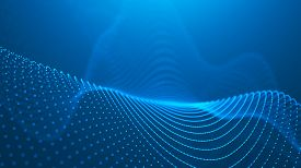 Wave 3d. 3d Blue Glowing Abstract Background. Abstract Background With A Dynamic Wave. Big Data Visu