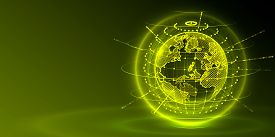 Concept Global Planet Earth Point Green Background.