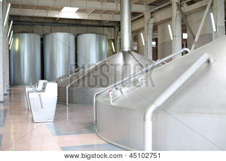 MOSCOW - MAY 31: Large beer  bowls in Ochakovo factory, on May 31, 2012 in Moscow, Russia. Ochakovo company has 18 enterprises.