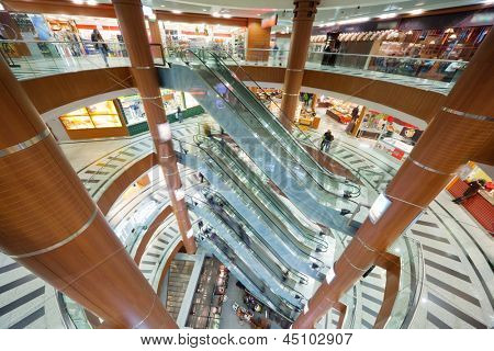 MOSCOW - OCT 31: Escalator and floors in shopping mall Schuka, Oct 31, 2011 in Moscow, Russia. Schuka was opened, June 2, 2007, contains 8 floors, total area of shopping center 105,000 square meters