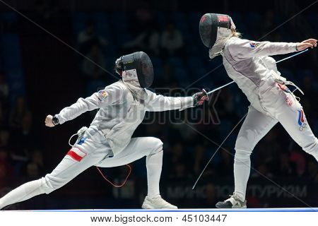 MOSCOW - APR 6: Women compete on championship of world in fencing among juniors and cadets, in Sports complex, on April 6, 2012 in Moscow, Russia