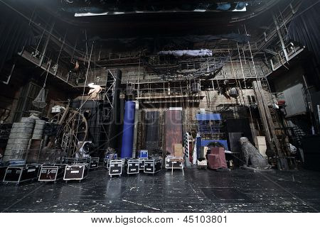 MOSCOW - APRIL 23: Packed decorations on stage in Vakhtangov Theatre on April 23, 2012 in Moscow, Russia. Area scene is about 100 square meters.
