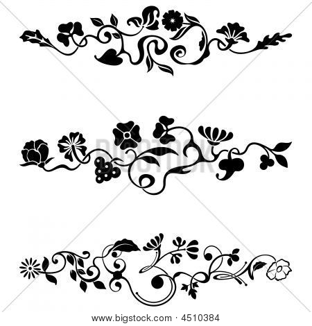 Ornamental frieze designs with floral details vector series. poster