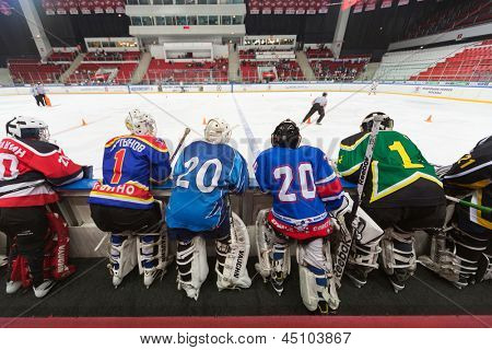 MOSCOW - APR 28: Goalkeepers are waiting on closing ceremony of the championship season of 2011-2012 Ice Hockey for Sports School, junior teams on April 28, 2012  in Sokolniki, Moscow, Russia.