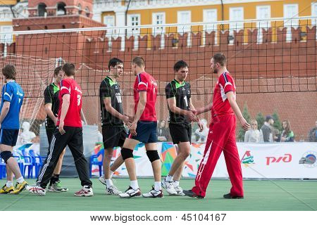 MOSCOW - MAY 26: Volleyball players greet each other on  VIII Forum Ready for Labor and Defense on May 26, 2012 in Red Square, Moscow, Russia.