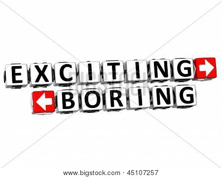 3D Exciting Boring Button Click Here Block Text