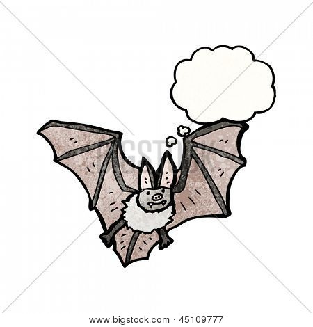cartoon bat with thought bubble poster