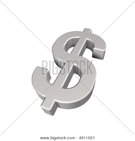 Silver Dollar Sign Isolated On White