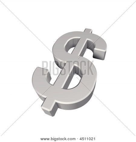 Silber-Dollar-Zeichen, isoliert auf weiss
