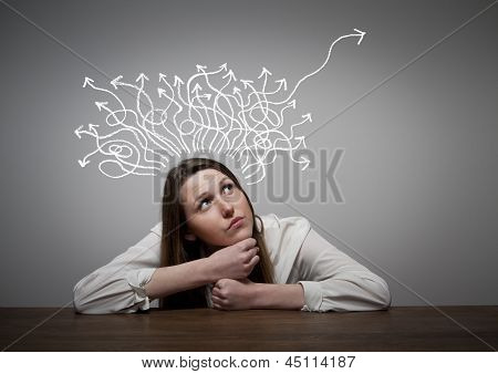 Thinking. Girl solving a problem. Conceptual image. poster