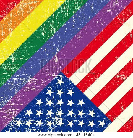 Mixed grunge gay flag with American flag.