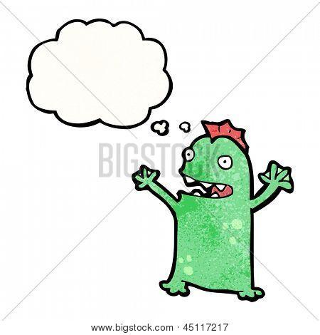 cartoon little swamp monster poster