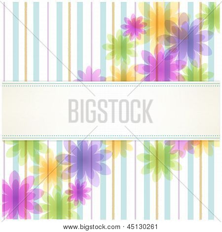 Stripe Floral Background With Copy Space