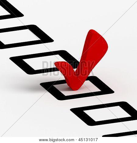Check list symbol, red color