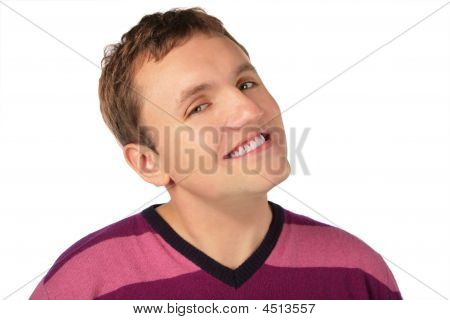 Man`s Sly Smile