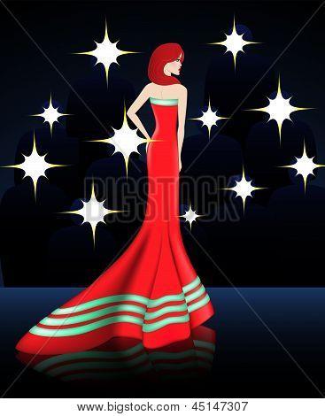 Lady In Elegant Red Long Dress