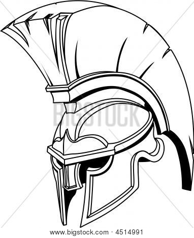 An illustration of Spartan roman greek trojan or gladiator helmet with plume poster