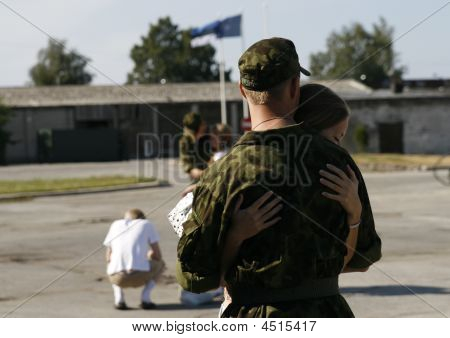 Soldier Meeting With His Girlfriend