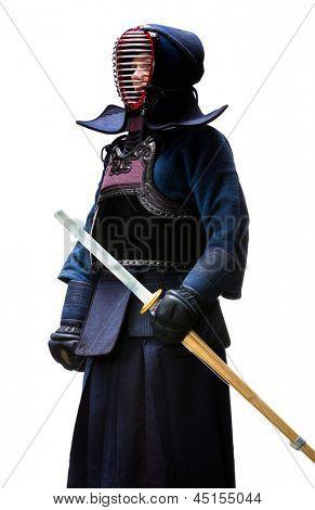 Full length portrait of kendo fighter, isolated on white. Japanese martial art of sword fighting