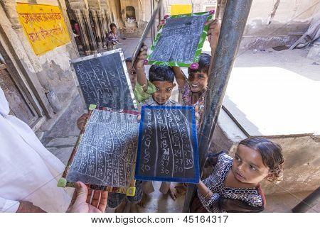 Children Study In Village's School  In Mandawa, India.