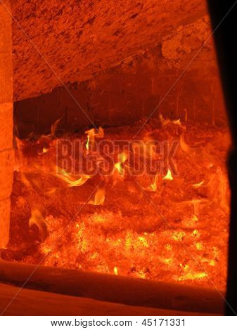Fire In The Boiler Furnace Grate