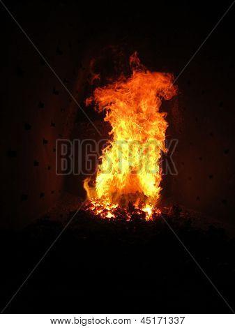 Fire In The Boiler Furnace Retort,