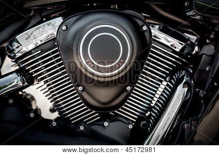Black color modern motorcycle engine close up poster