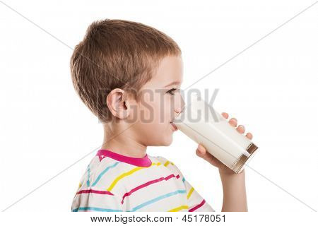 Beauty smiling child boy hand holding milk drink glass white isolated