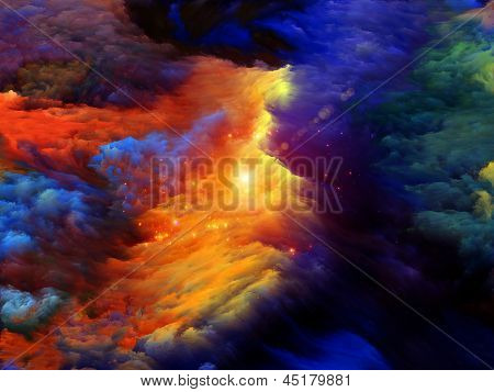 Graphic composition of dreamy forms and colors to serve as complimentary backdrop for designs on the subject of dream imagination fantasy and abstract art poster