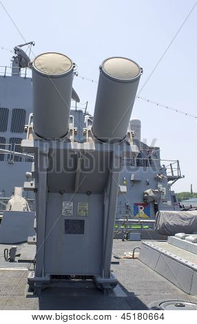 Harpoon cruise missile launchers on the deck of US Navy destroyer during Fleet Week 2012